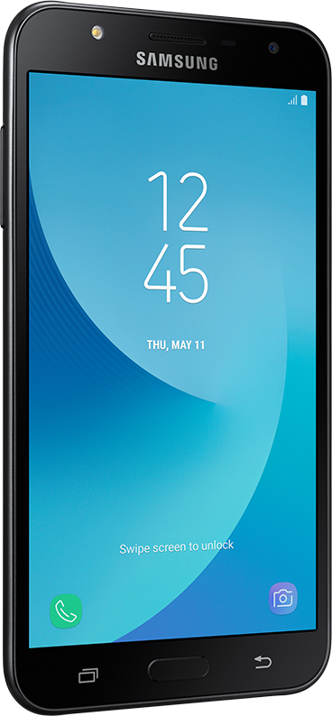 Galaxy J7 Neo standing, in left side perspective.  On the screen, the date and time information.