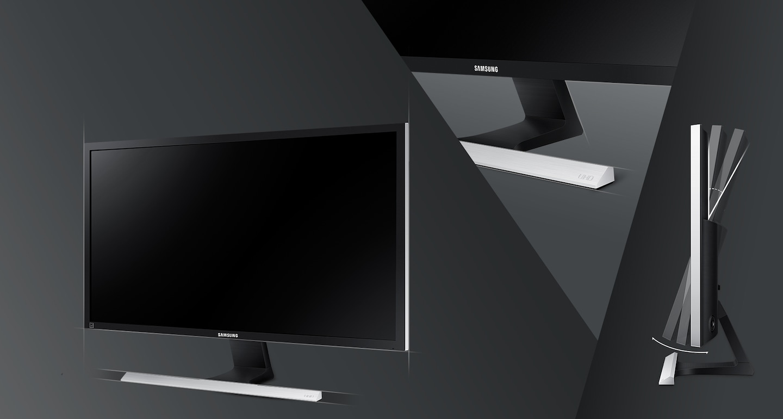 Descubra o design sofisticado em preto fosco e base em formato T com toque metálico