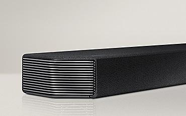 Soundbar set placed under a TV