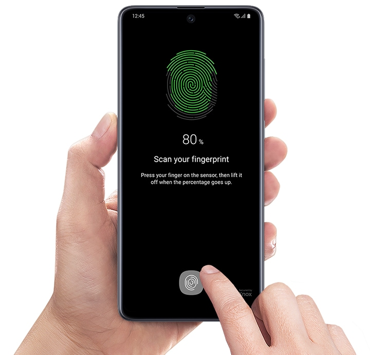 Image of left hand holding Galaxy A71 facing forward. On-screen shows image of on-screen fingerprint at 80 percent, requesting to scan your fingerprint to unlock the device.