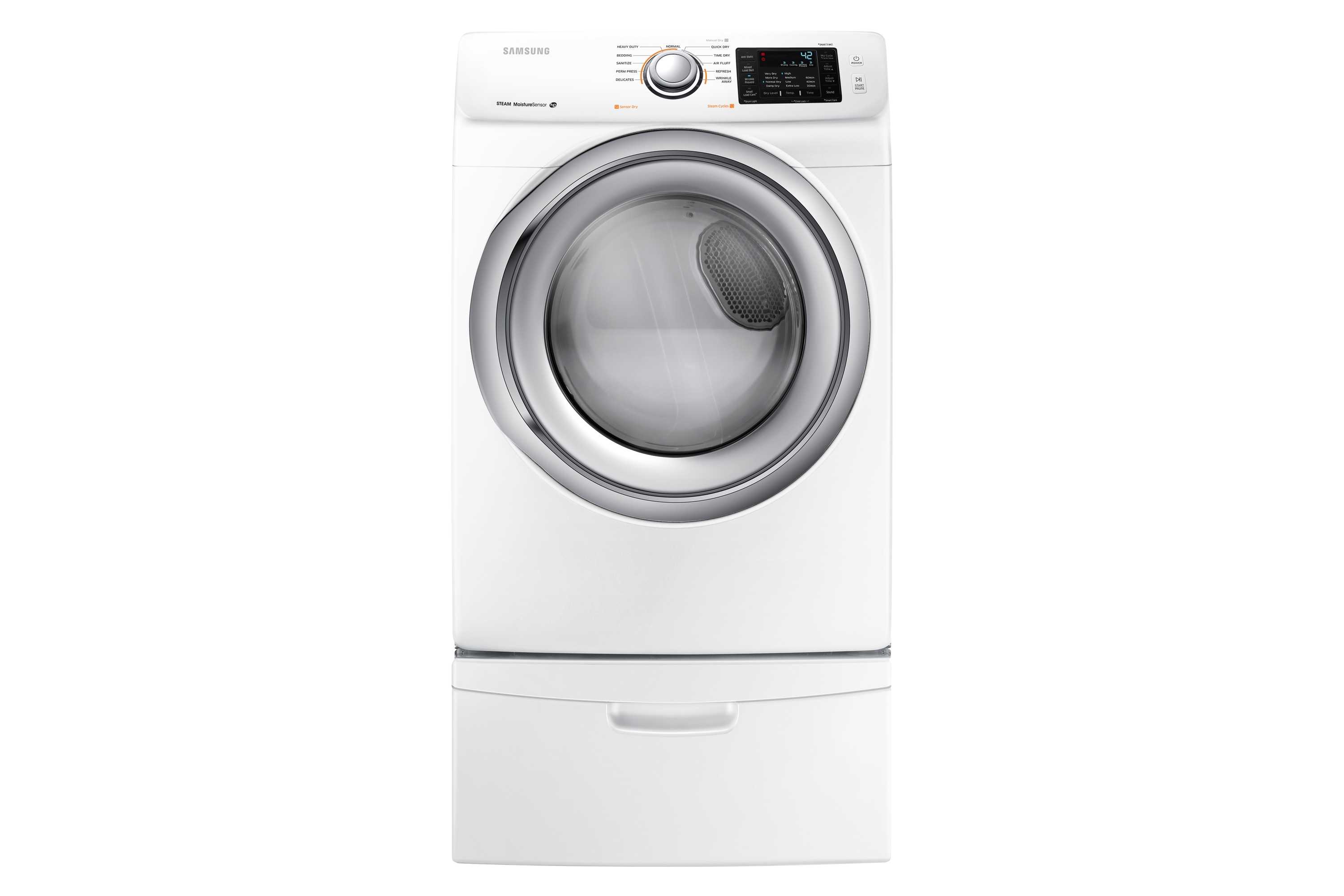 DV42H5200EW Electric Front-Load Dryer with Smart Care, 7.5 cu.ft