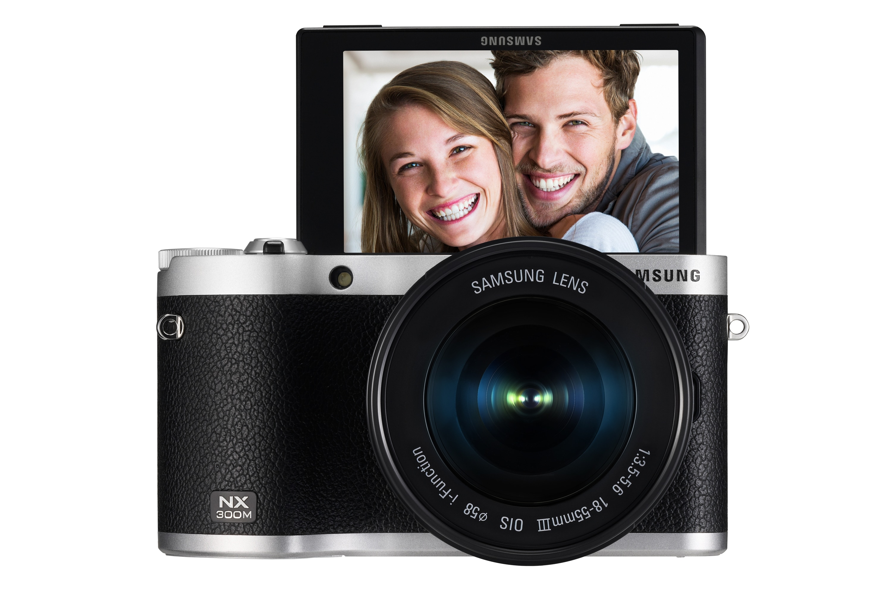 NX300M Front Display Up_18-55mm Black