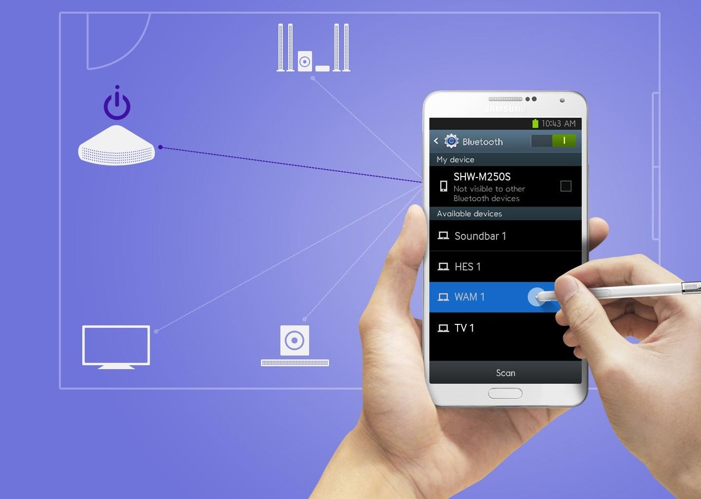 Grâce à la compatibilité avec Bluetooth, vous pouvez utiliser votre téléphone intelligent pour activer vos haut-parleurs à distance. Synchronisez les haut-parleurs et votre téléphone intelligent une seule fois, et vous pourrez rapidement et facilement mettre vos haut-parleurs en marche en les sélectionnant sur votre téléphone intelligent. C'est aussi simple que cela. Tant que vos haut-parleurs sont branchés à une source d'alimentation, vous pouvez les activer avec une simple pression et profiter d'un son de haute qualité.