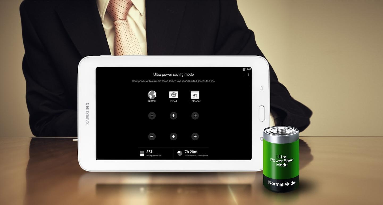 Le Mode Ultra économie d'énergie réduit considérablement la consommation de l'énergie de la pile en désactivant les fonctions non essentielles, ce qui vous assure que votre tablette sera prête lorsque vous en aurez besoin.