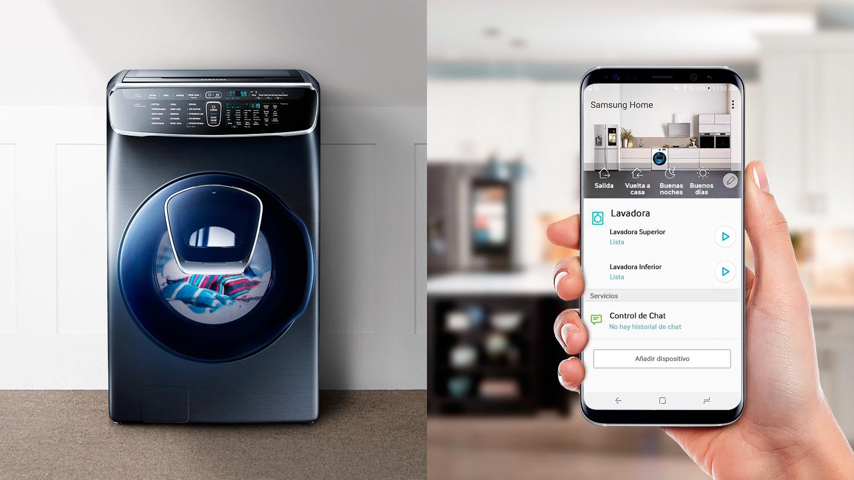 TFlexWash se está ejecutando según los comandos de la aplicación móvil Samsung Smart Home. La aplicación Samsung Smart Home le permite iniciar el lavado de ropa, controlar el tiempo restante y verificar la terminación del ciclo.