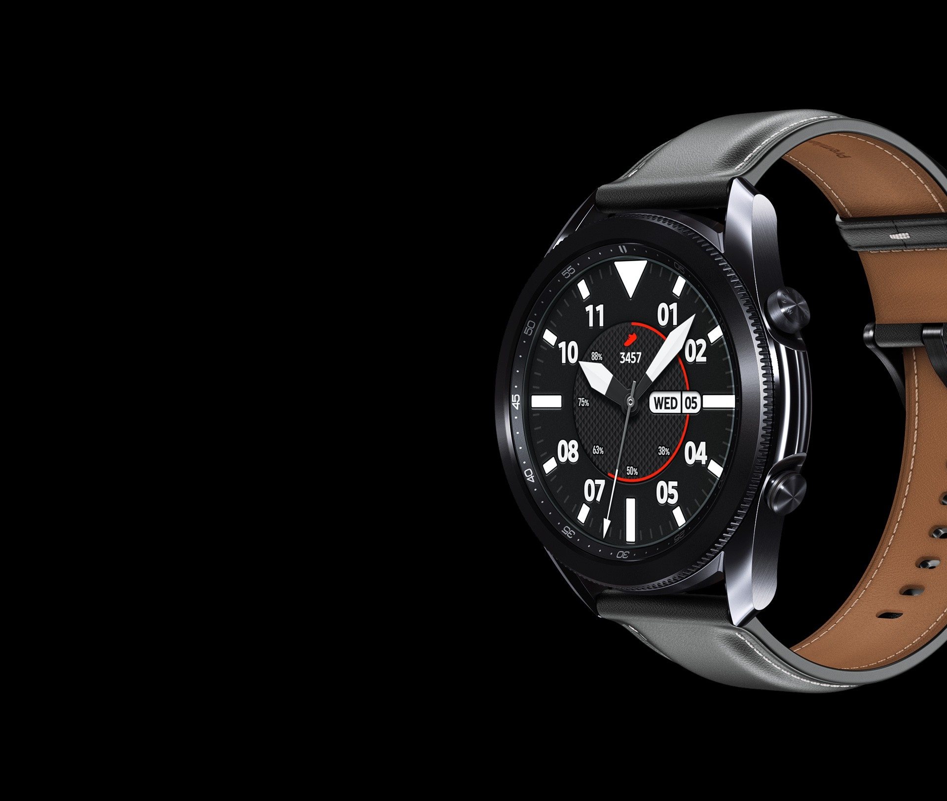 45mm Galaxy Watch3 in Mystic Black with a Sporty Classic Watch Face seen from an angle