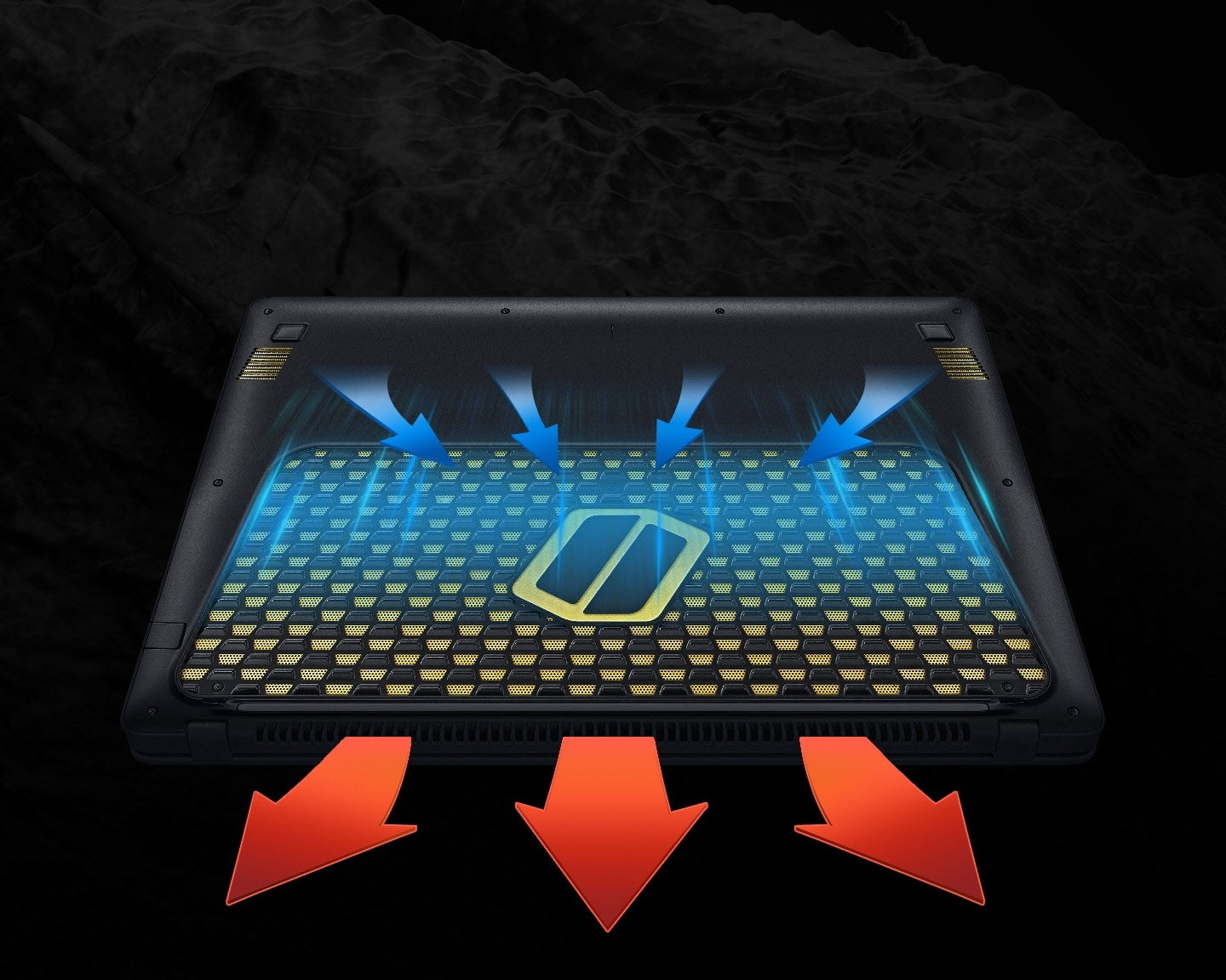 An image of an Samsung Notebook Odyssey device's bottom facing upwards, showing how it absorbs cool air and emits hot air, using arrow graphics