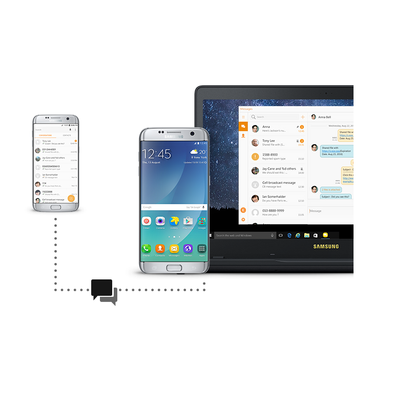"An image showing a smartphone and a Samsung Notebook Odyssey(15.6"") device synced wirelessly, with the same text messages on both devices' screens, being sent to another phone"