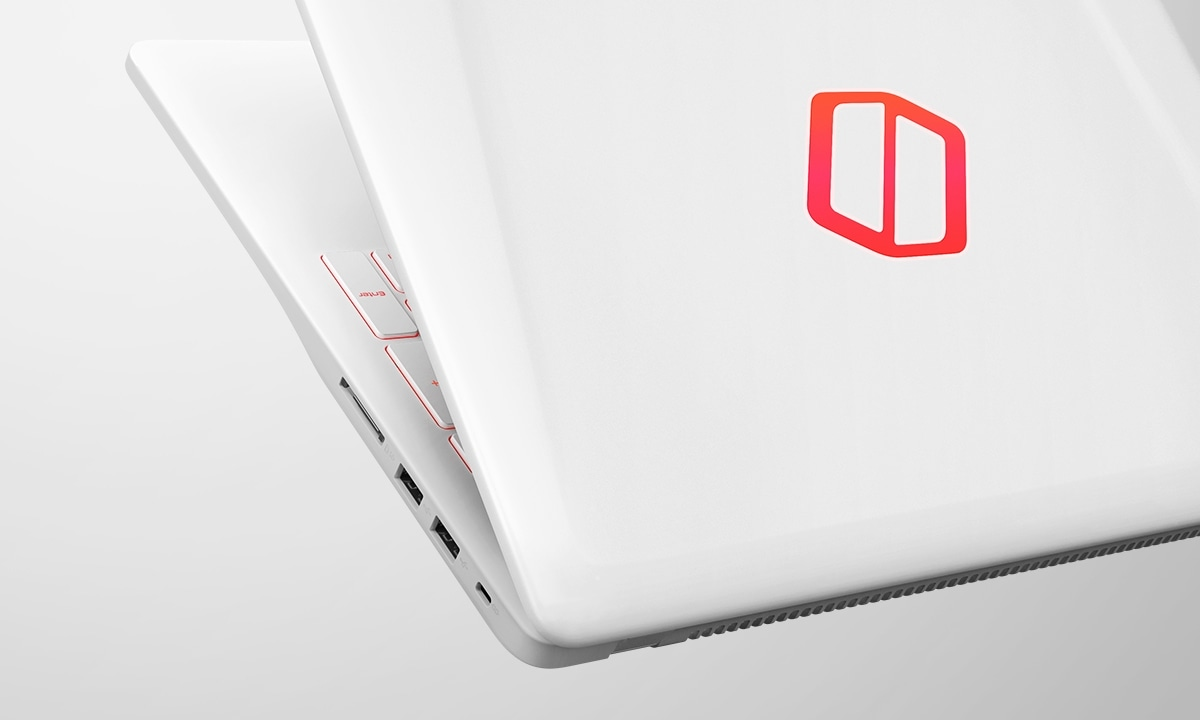A magnified image showing a white Samsung Notebook Odyssey device that is partially open, as well as its logo