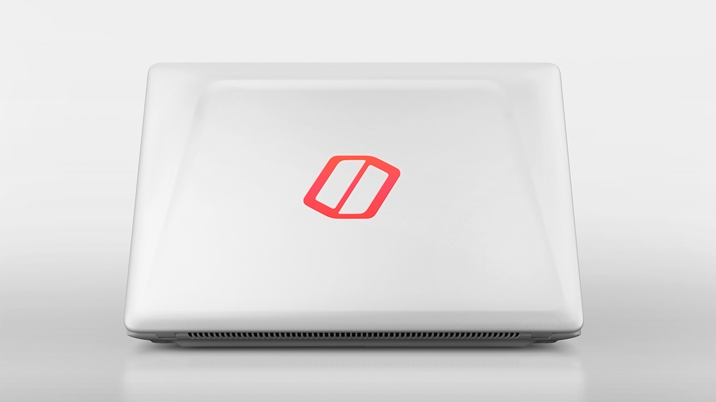 An image showing the logo on the Samsung Notebook Odyssey's top illuminates with red light.