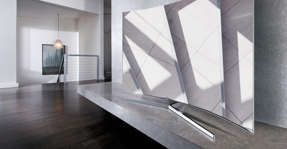 a right perspective image of TV in a living room.