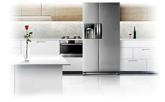 Side By Side Kühlschrank In Küche : A side by side kühlschrank edelstahl cm l samsung de