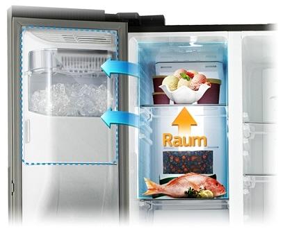 Kleiner Kühlschrank Eiswürfelspender : Side by side kühlschrank rs space max cm l samsung de
