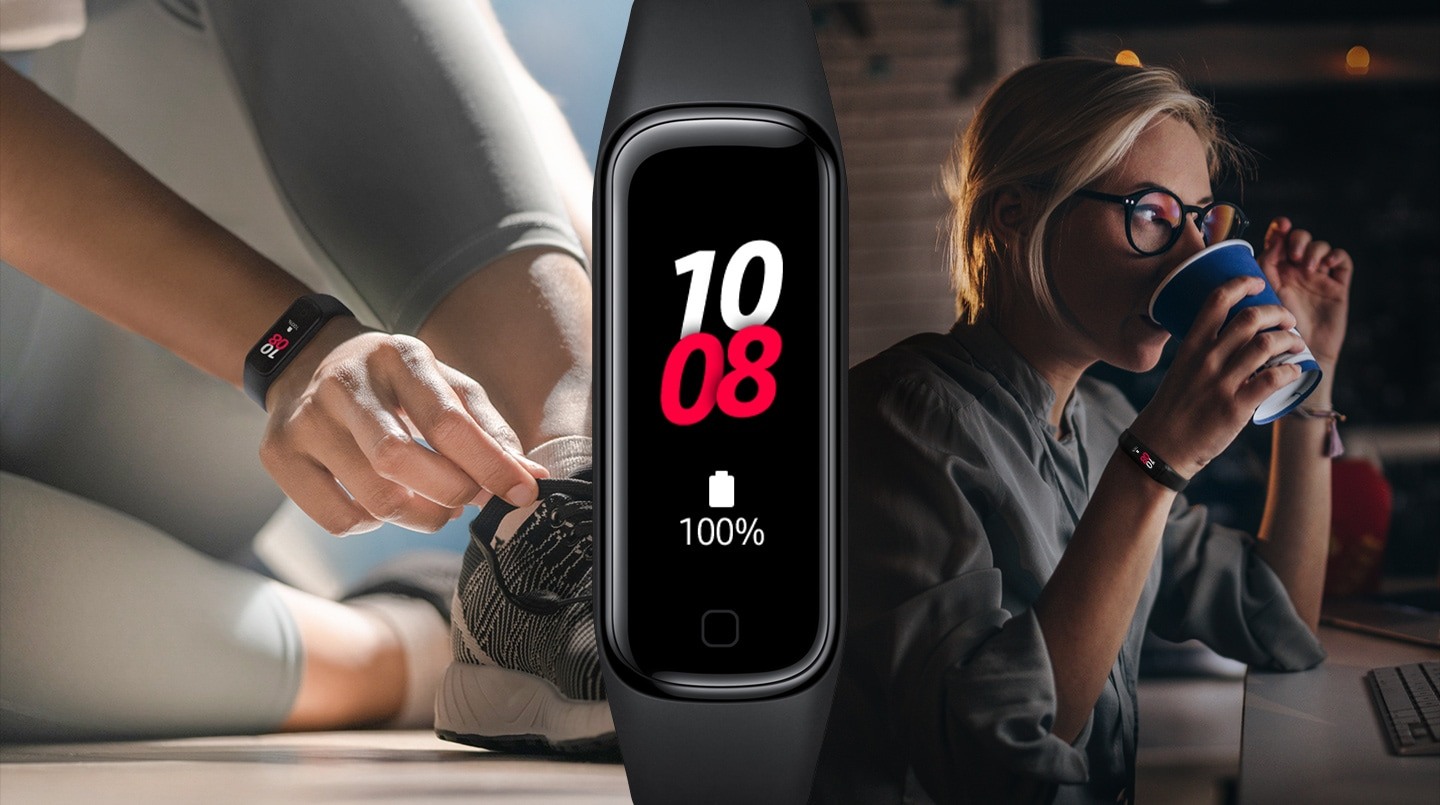 You can see three close-ups of a woman who uses the Galaxy Fit2 in different situations throughout the day to illustrate the large battery capacity.