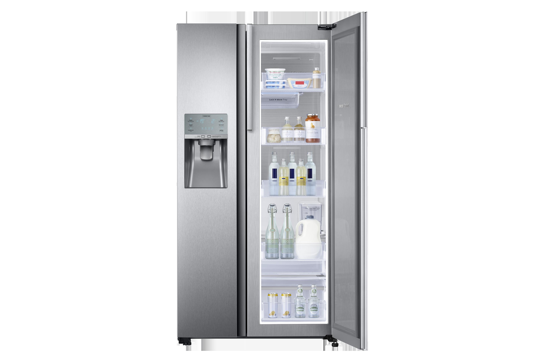 Side By Side Kühlschrank Mit Eiswürfelspender : Side by side kühlschrank edelstahl cm l samsung de