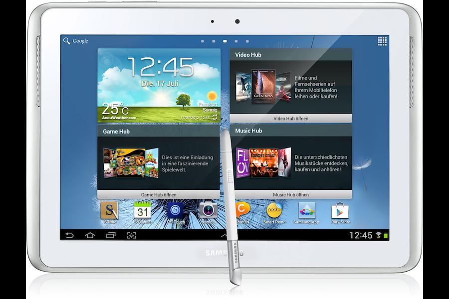 Galaxy Note (10.1, 3G) N8000 Vorderseite Weiß