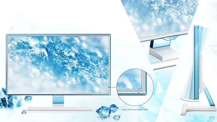 Define your space with a stylish new design accentuated by slim bezels and soft blue light