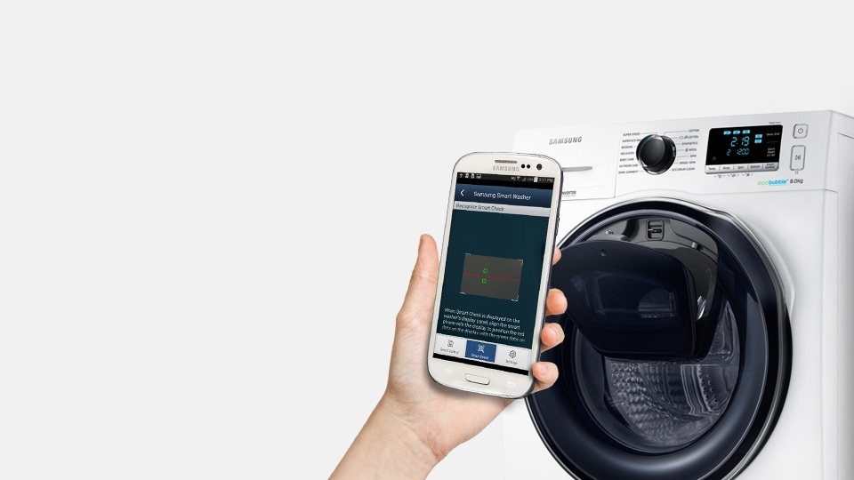 An image showing a user diagnosing washing machine issues on their smartphone next to a WW6500 machine.