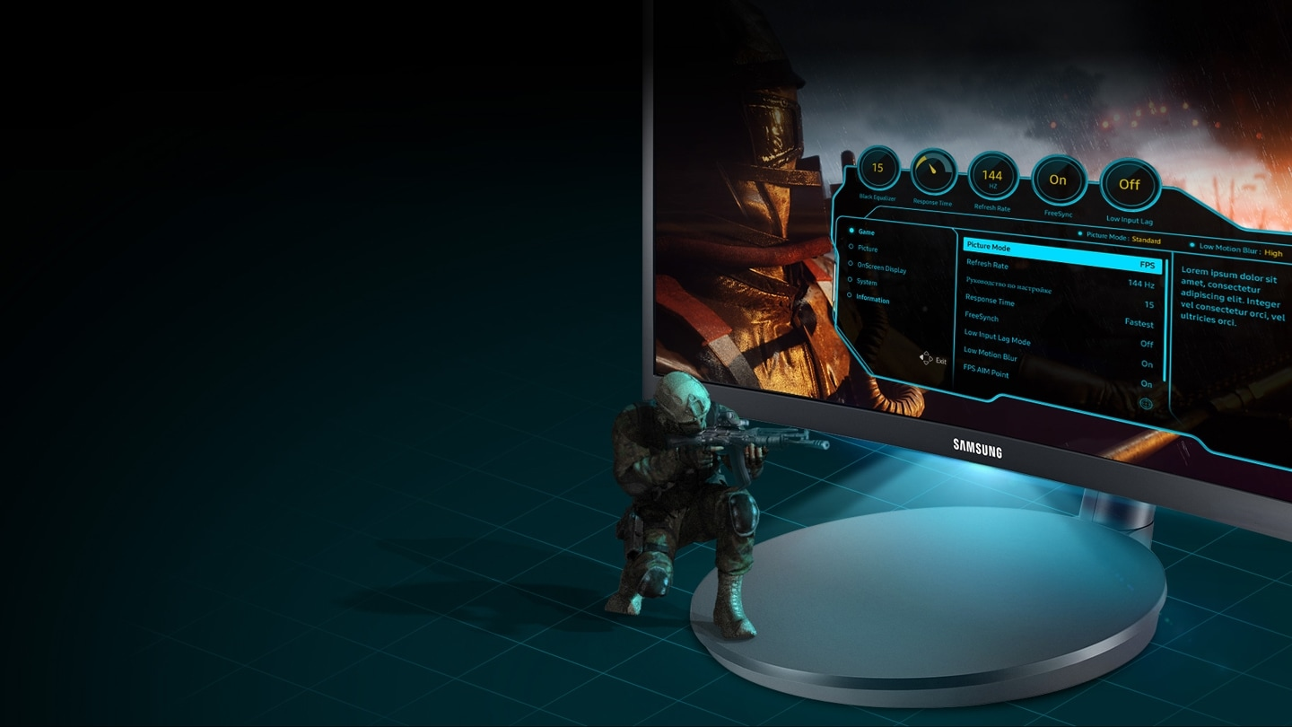 Game-style OSD menu and Sound interactive LED Lighting adds to the fun