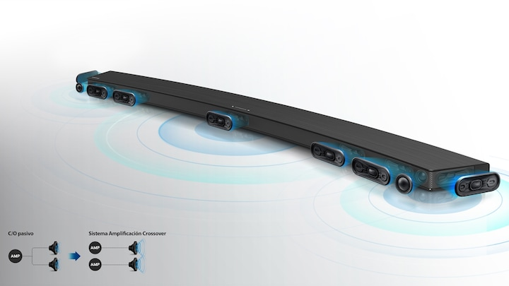 Clear sound from 8 built-in speakers