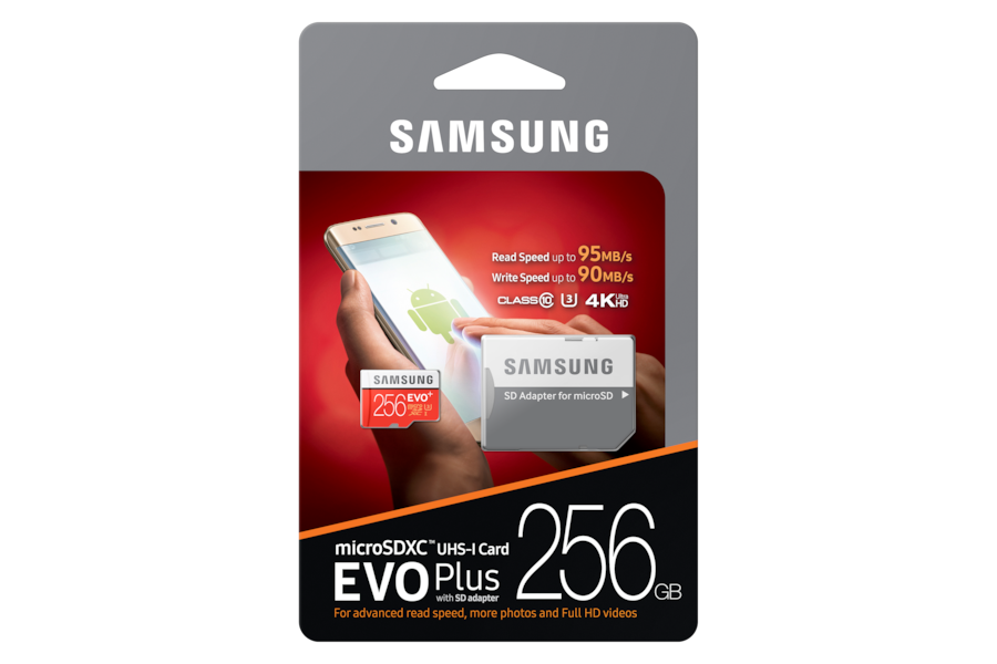 Tarjeta microSD EVO Plus (con adaptador SD) MC256D Front PKG with adapter red