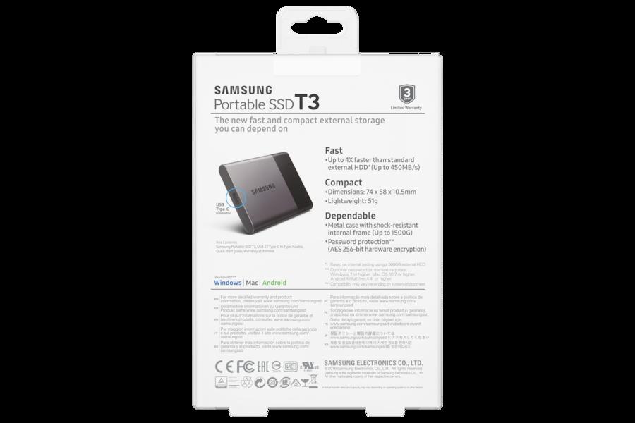 SSD Portátil T3 PT500B Back