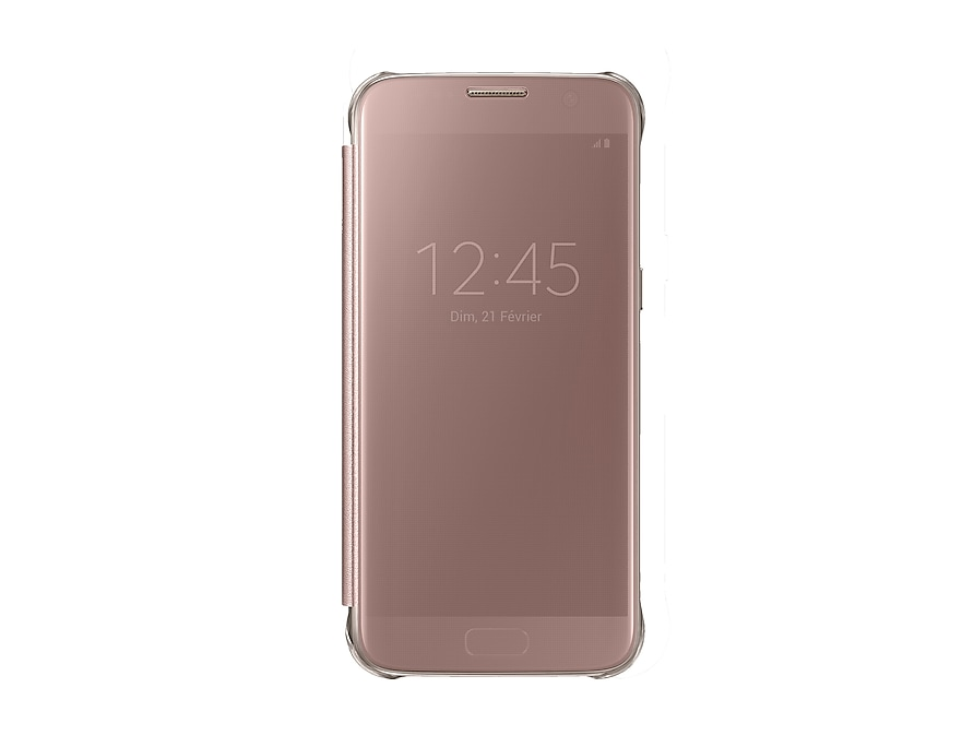 ... Samsung Galaxy S7 Edge Clear View Cover Rose Gold front pink Оригинален  ... 28041415a98d