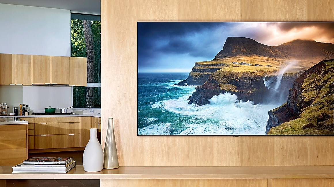 The side of wall-mounted QLED.