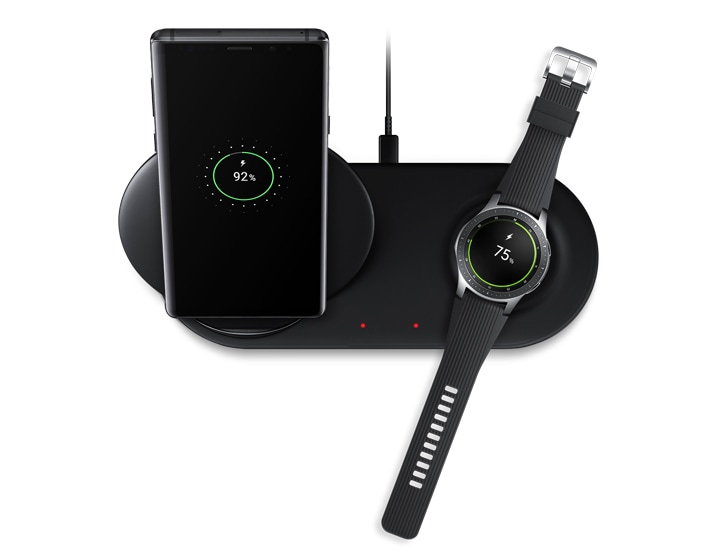 Le Chargeur sans fil Duo avec le Galaxy Note9 et la Galaxy Watch