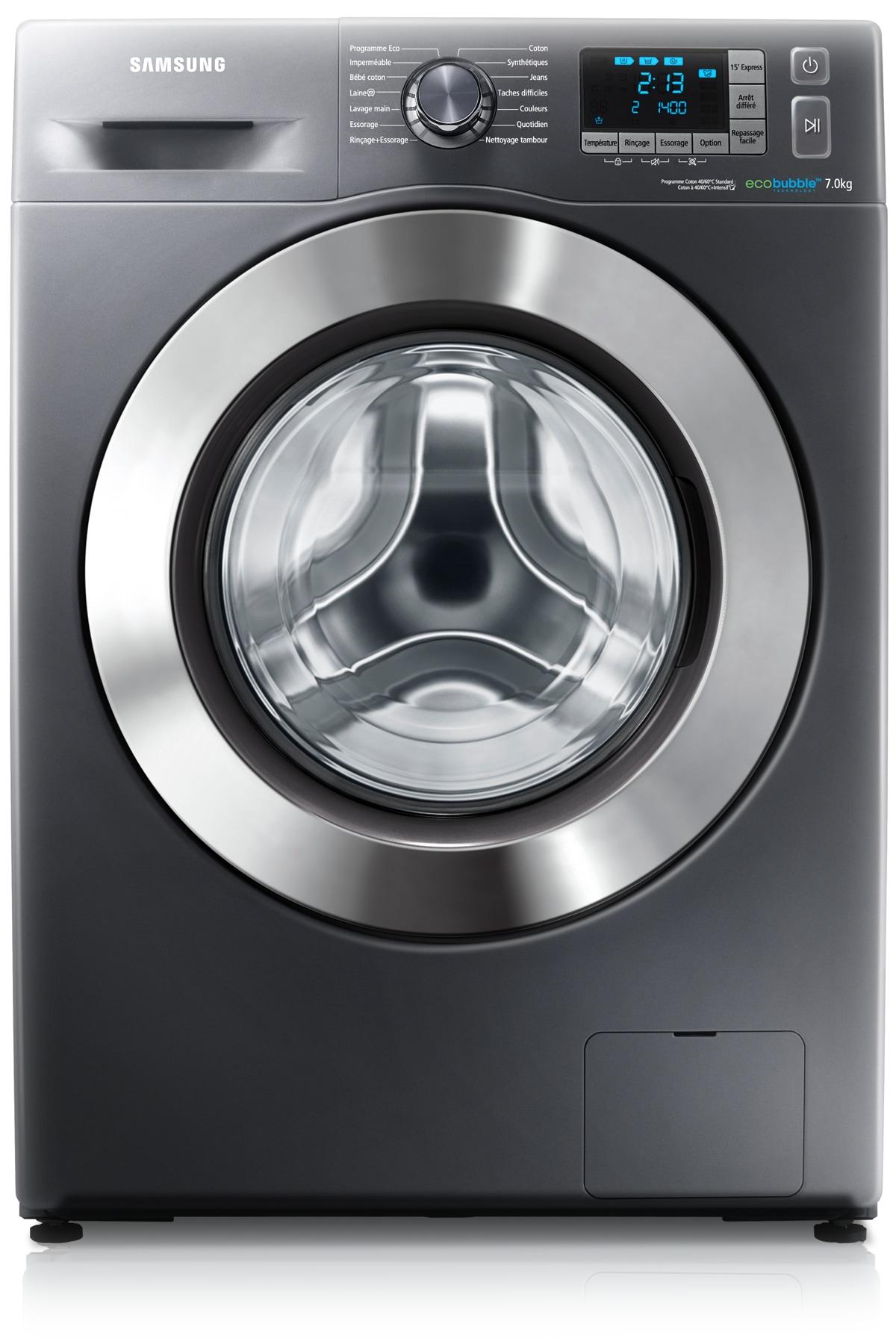 Lave Linge Couleur Gris lave-linge eco bubble metal grey, 7kg, wf70f5e5w4x - samsung