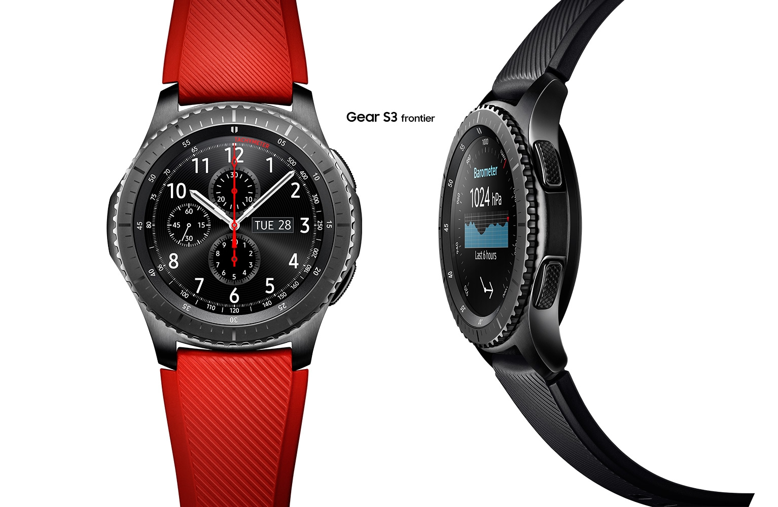4c53ce43a62 One Gear S3 Frontier with red watch band and one Gear S3 Frontier with black  watch