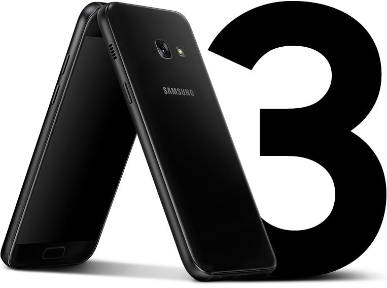 Vue frontale et latérale du Galaxy A3 (2017) pour mettre en évidence son design uniforme sans protubérance.