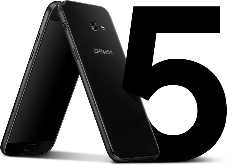 Μπροστινή και πλαϊνή άποψη του Galaxy A5 (2017) που τονίζει την ομοιόμορφη σχεδίαση χωρίς προεξοχές.