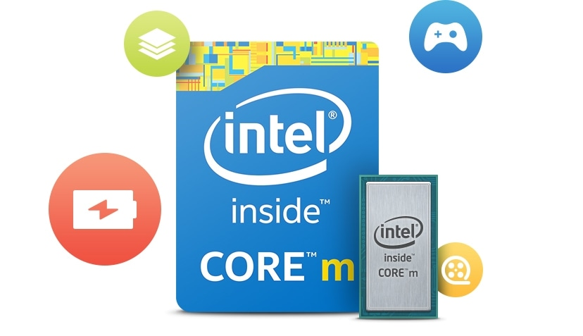 Images and icons showing the Intel logo, as well as games, power, file and movie icons.