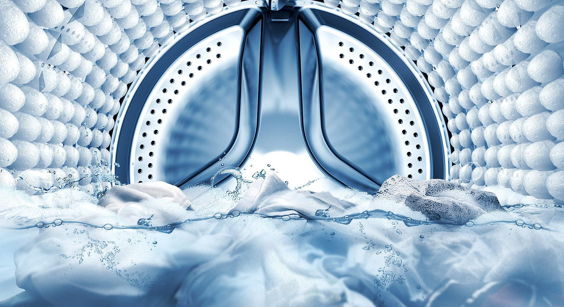 An image showing the inside of the machine's drum, as the bubble soak function removes stains from clothes.