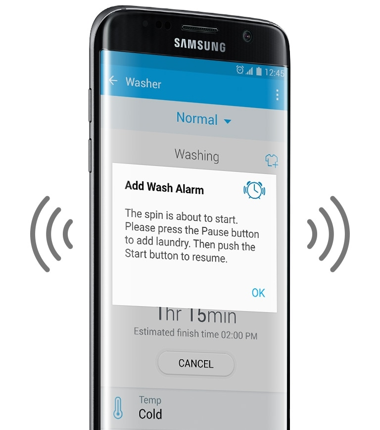 A moving image of a smart phone alarming, explaining Smart Control AddWash™ Alarm