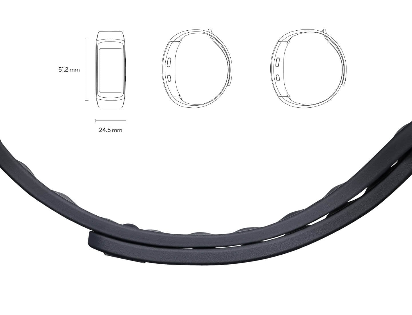 Gear fit2 of size 51.2mm by 24.5mm seen from the front and from the side in small size and large size along with a closeup of the band