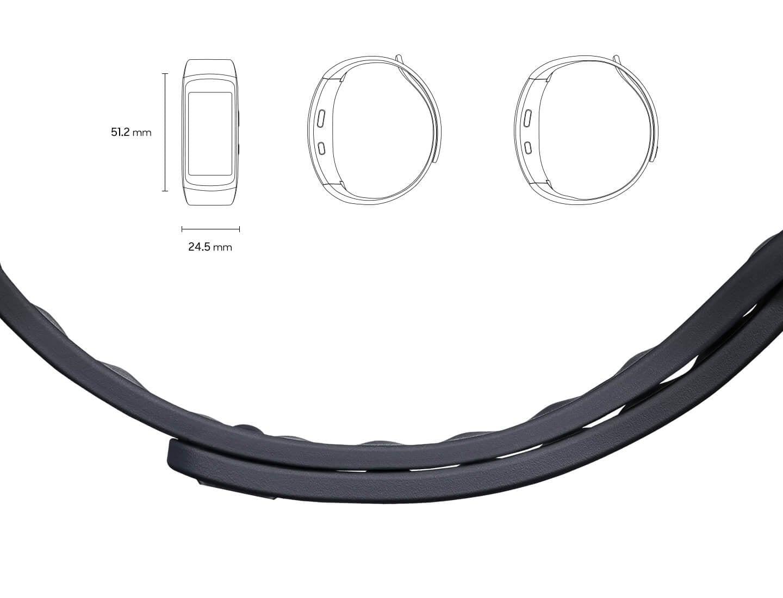 Gear Fit2 در اندازه 51/2 میلیمتر در 24/5 میلیمتر از نمای جلو و کنار در اندازه کوچک و بزرگ، و همچنین نمایی نزدیک از بند آن