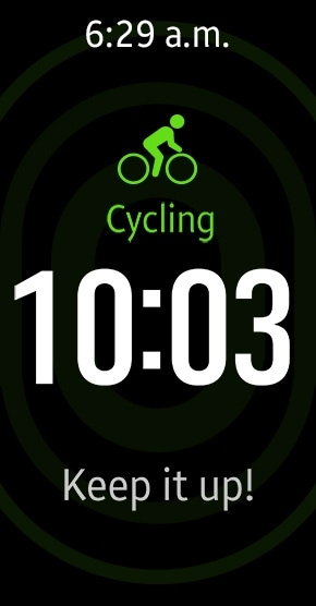 Gear Fit 2 tracking cycling with auto tracking mode and showing time and motivational message on display