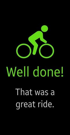 Display screenshot of Auto tracking mode's message on Gear Fit2 when cycling session has ended