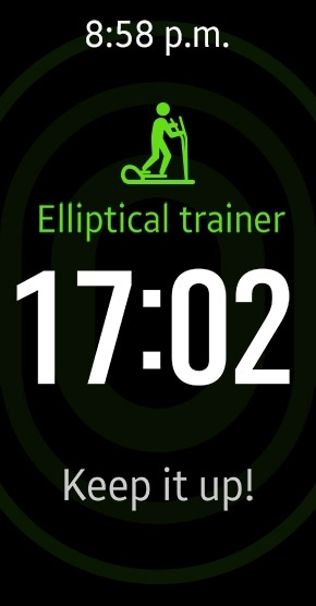 Gear Fit2 tracking elliptical training with auto tracking mode and showing time and motivational message on display
