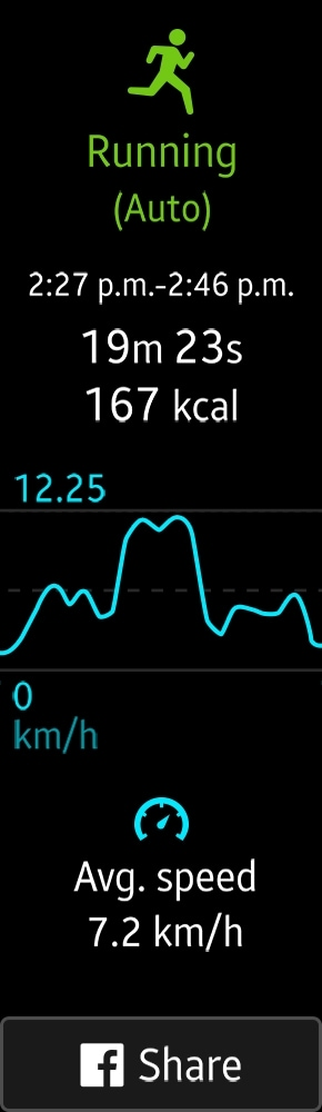 Display screenshot of running stats from auto tracking mode on Gear Fit2 with a button to share the results to facebook