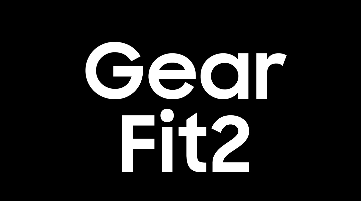 Gear Fit2 slung over the capital letter G on the word Gear Fit2