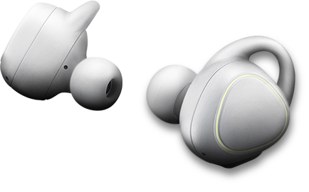 A pair of white Gear IconX that consists of the left and right earbuds