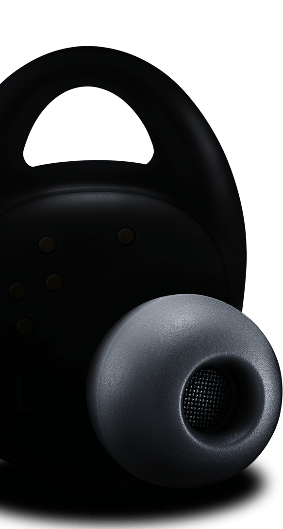 The left Gear IconX earbud in black