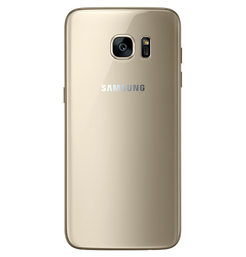 Back view of gold platinum Galaxy S7 edge.
