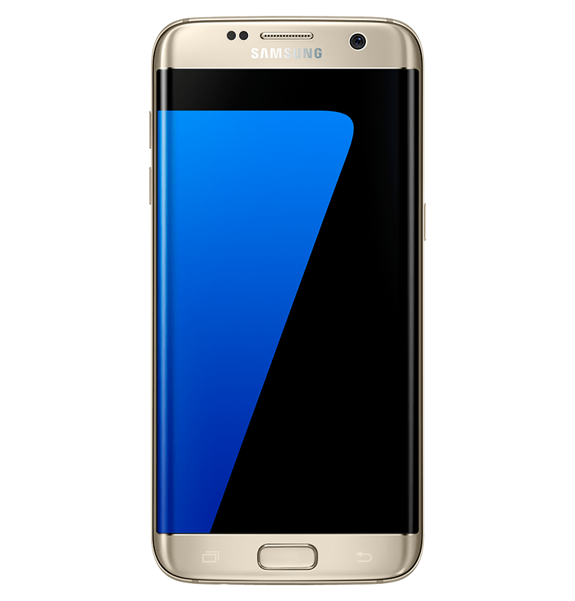 Front view of gold platinum galaxy s7 edge