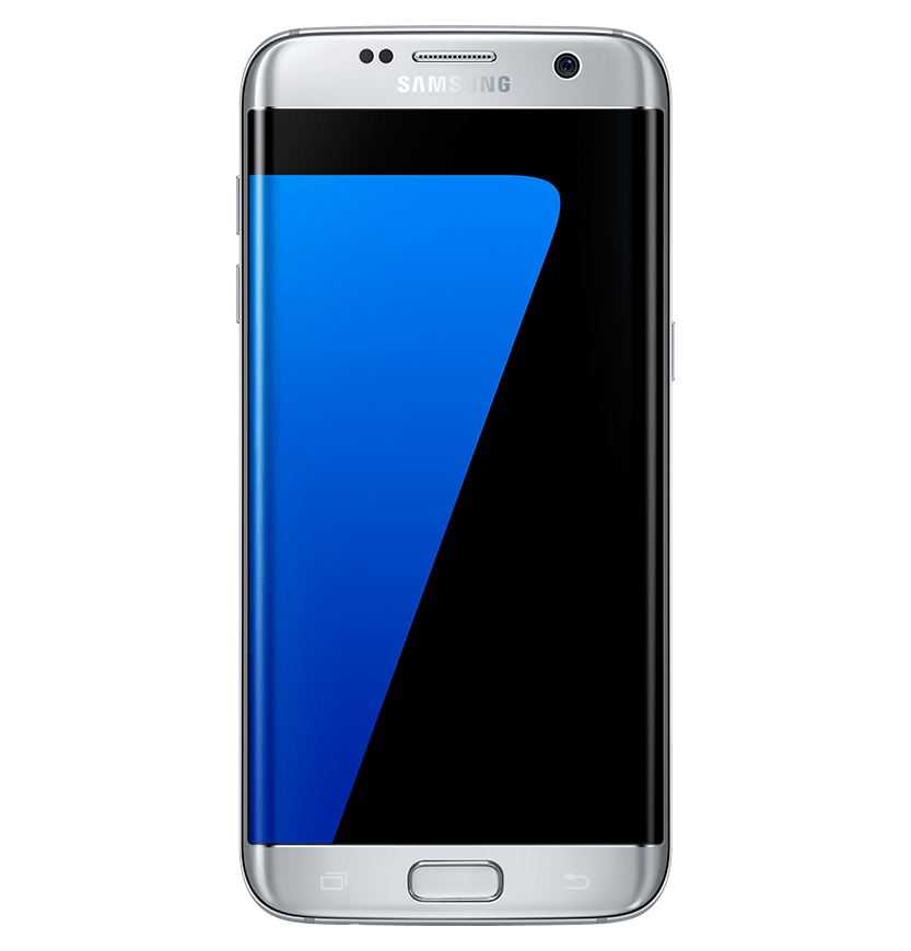 Front view of silver titanium Galaxy S7 edge