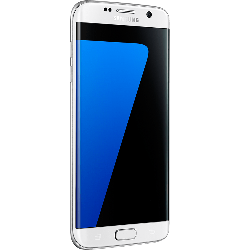 Angled side view of white pearl Galaxy S7 edge from left