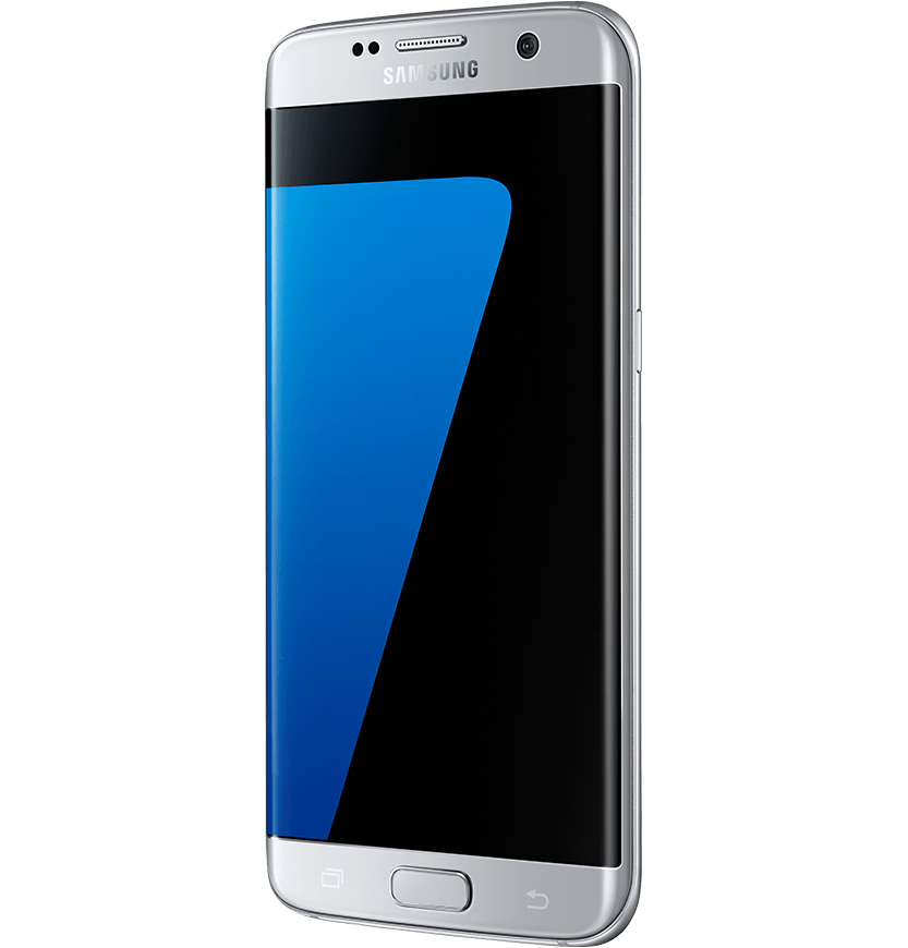 Angled side view of silver titanium Galaxy S7 edge from right